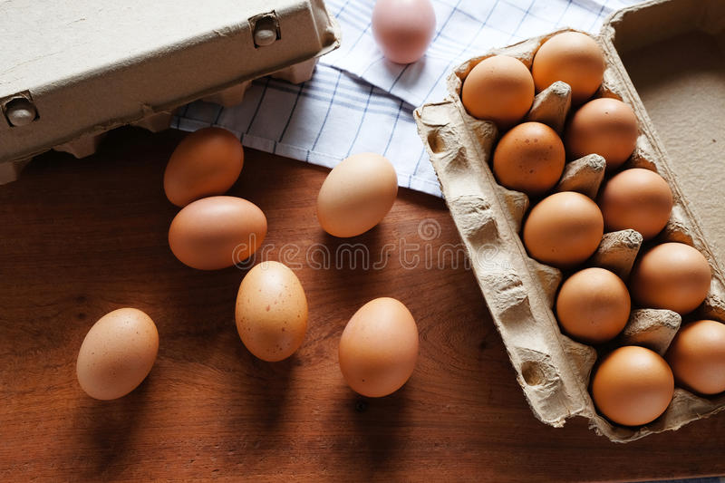 Fresh and organic eggs from organic egg farm,. Healthy food product in paper box container royalty free stock photo