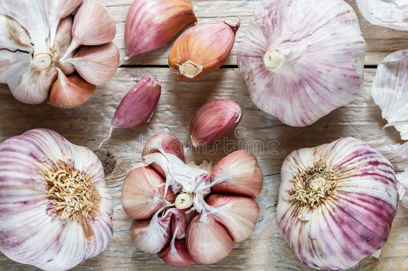 Fresh organic garlic on a wooden table. The harvest of vegetables. Selective focus, top view stock images