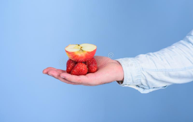 Fresh organic harvest of ripe fruit berries. Male hand with strawberries and half of apple blue background. Hand. Strawberry and apple fruit perfect taste match stock photos