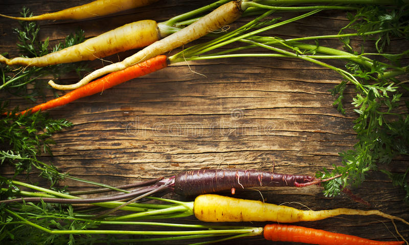 Fresh Organic Heirloom Carrot varieties of purple, yellow, orange and white colours. Fresh Organic Heirloom Carrot varieties of purple, yellow, orange and white stock image