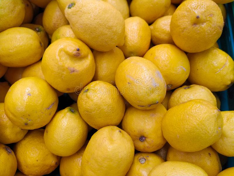 Fresh organic lemons for sale in a supermarket in Portugal. Close up. royalty free stock images