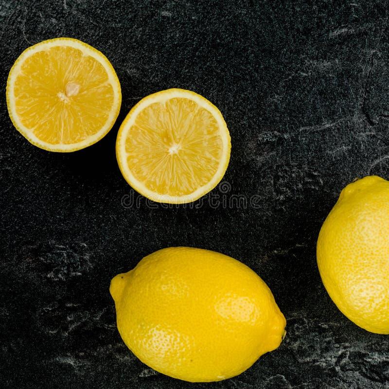 Fresh Organic Lemons on a Table Top stock images
