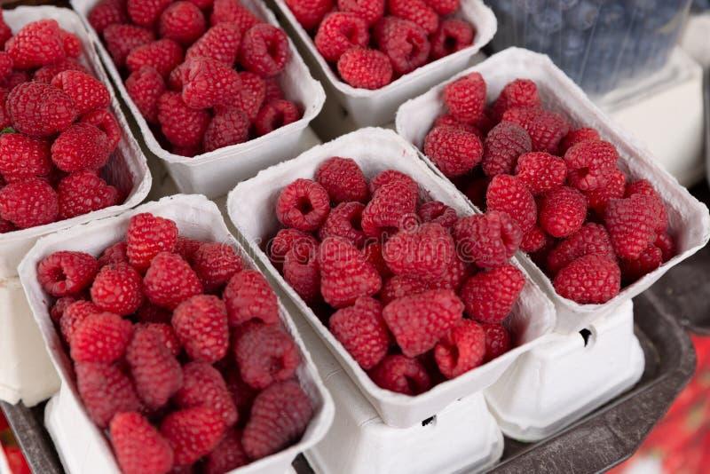 Fresh organic raspberries at farmers market in city stock photos