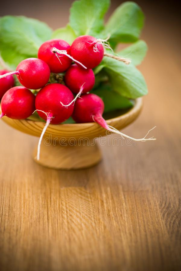Fresh organic red radish on a wooden table stock photo