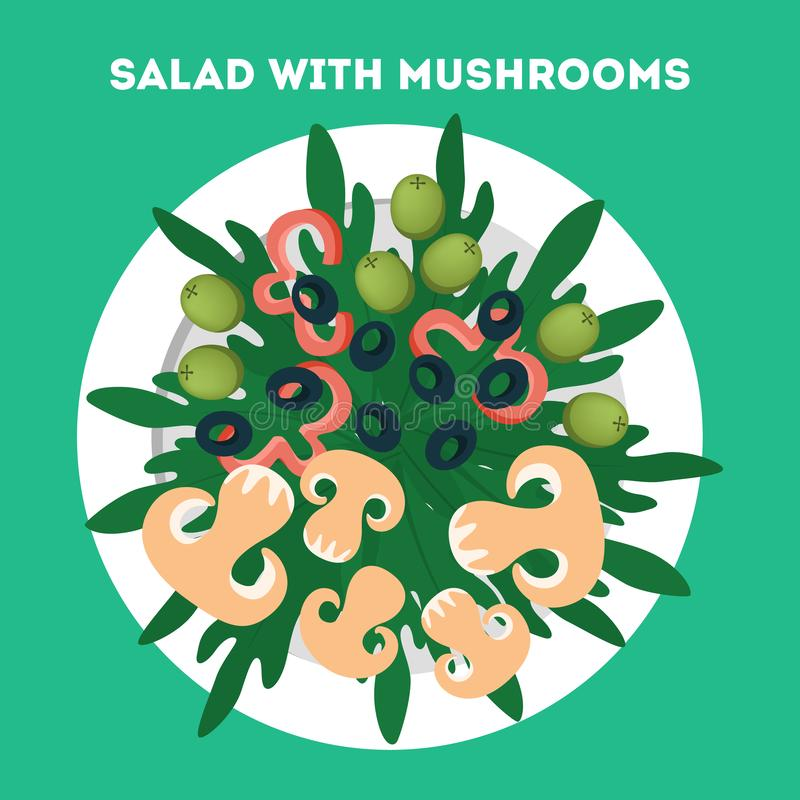 Fresh organic salad. Healthy dinner made of vegetable. And mushroom. Mixed ingredient in a bowl. Isolated vector illustration in cartoon style vector illustration