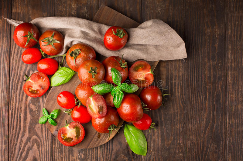 Fresh organic tomatoes, top view royalty free stock image
