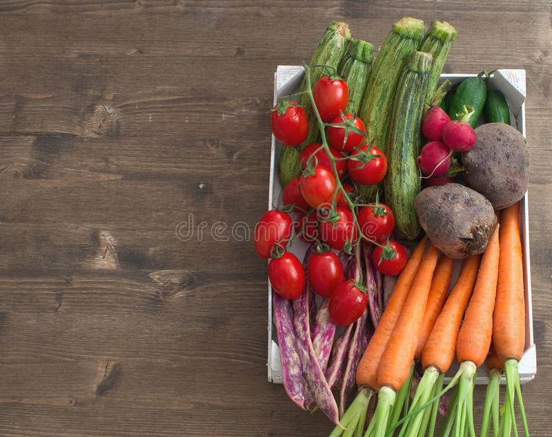 Fresh organic vegetables assortment Harvesting Wooden background Copy space royalty free stock photography
