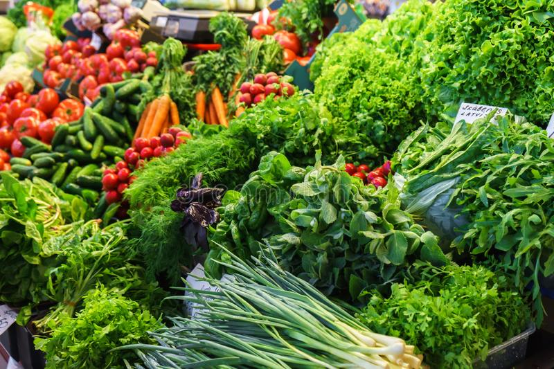 Fresh and organic vegetables at farmers market: raddish, tomatoes, dill, salad, green onoins, garlic. Fresh and organic vegetables at farmers market: raddish stock image