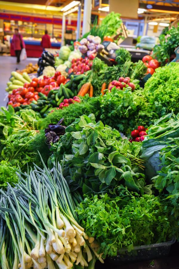 Fresh and organic vegetables at farmers market: raddish, tomatoes, dill, salad, green onoins, garlic stock photos