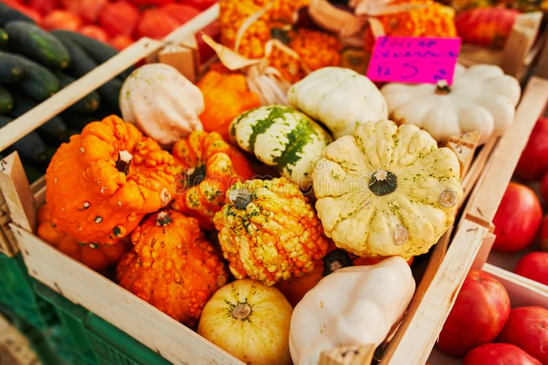 Fresh organic vegetables and fruits on farmer market royalty free stock image