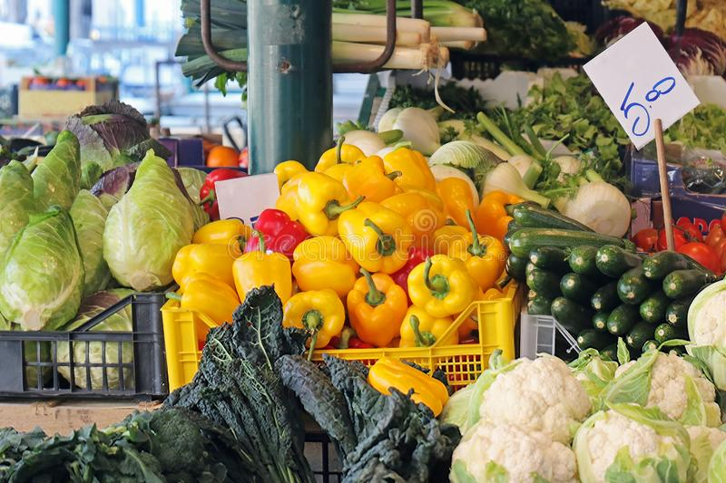 Fresh organic vegetables on market stall in Venice royalty free stock images