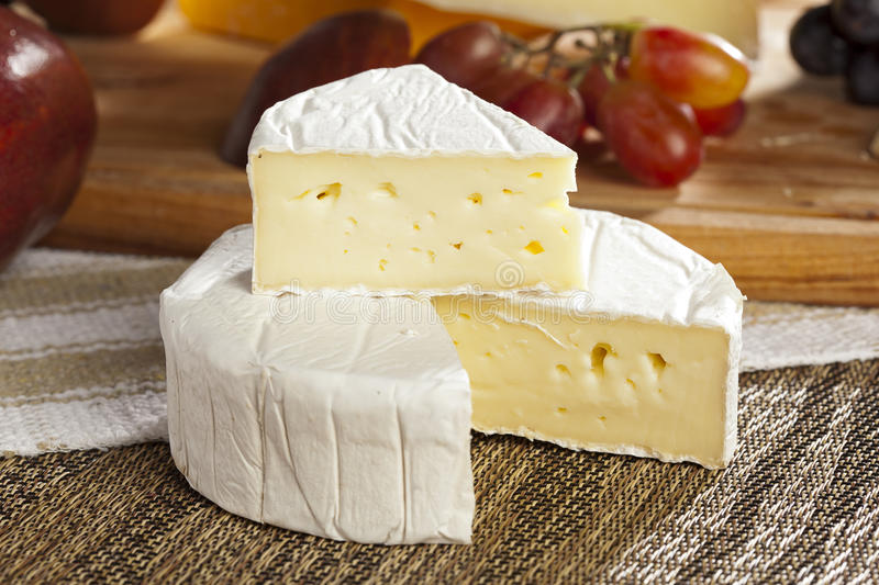 Fresh Organic White Brie Cheese royalty free stock image