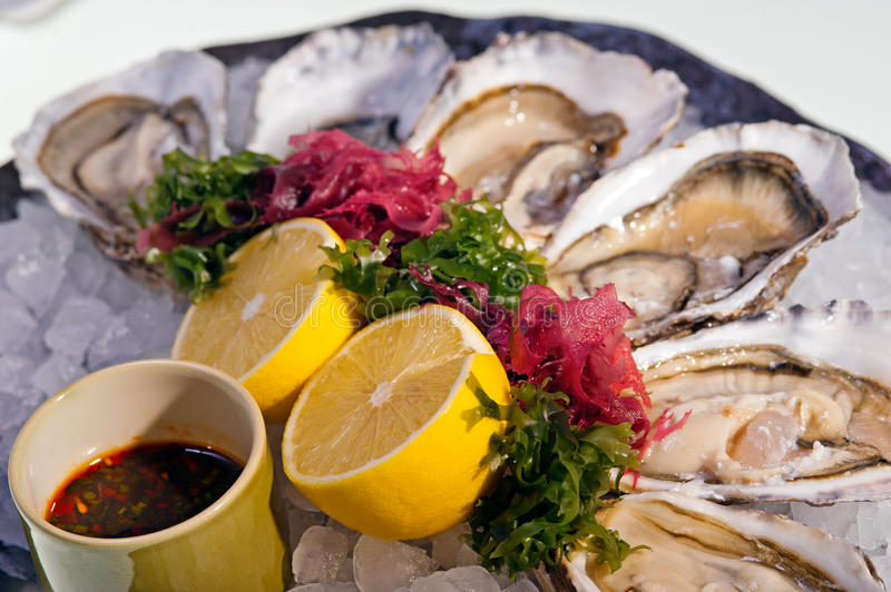 Download Fresh Oysters With  Lemon On Ice Plate Stock Image - Image of lettuce, pacific: 23059149
