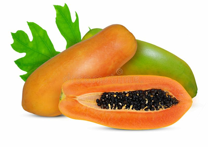 Fresh Papaya fruit isolated on white background stock photos