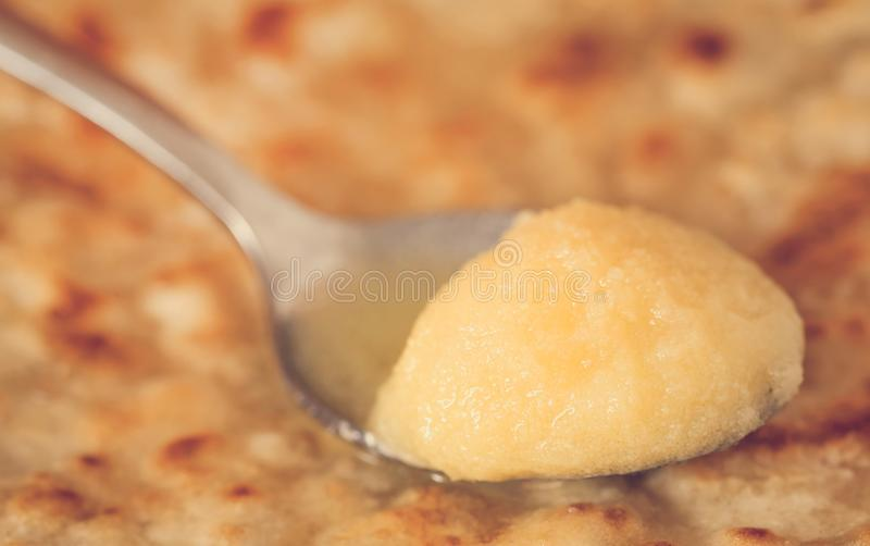 Fresh parotta. A traditional breakfast item in Indian subcontinent with ghee stock images