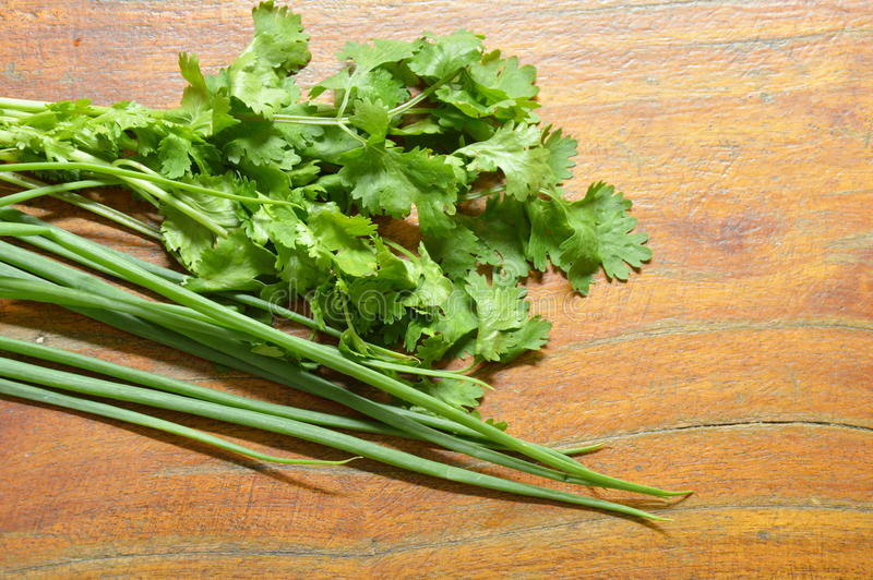 Fresh parsley and spring onion arranged on wooden table royalty free stock images