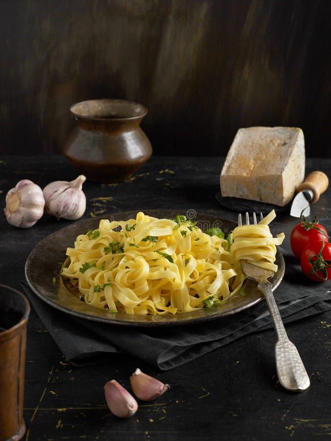 Fresh pasta closeup. Fresh pasta and ingredients closeup stock photos