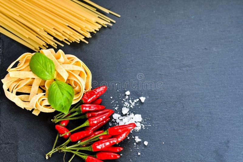 Fresh pasta ingredients royalty free stock images