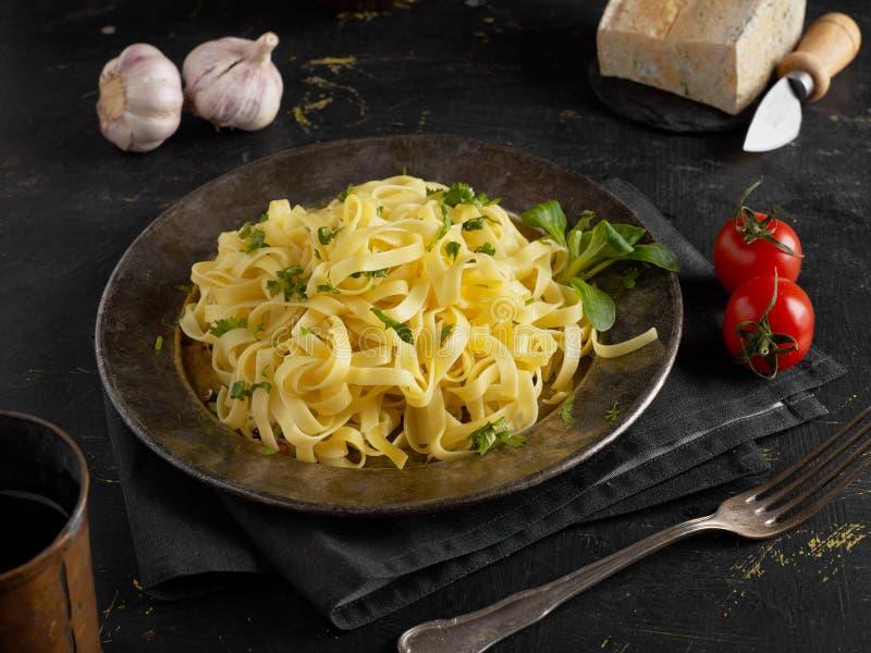 Fresh pasta closeup. Fresh pasta and ingredients closeup stock photography