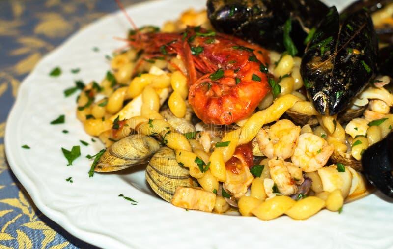 Fresh Pasta With Seafood.mediterranean Cuisine Stock Photo
