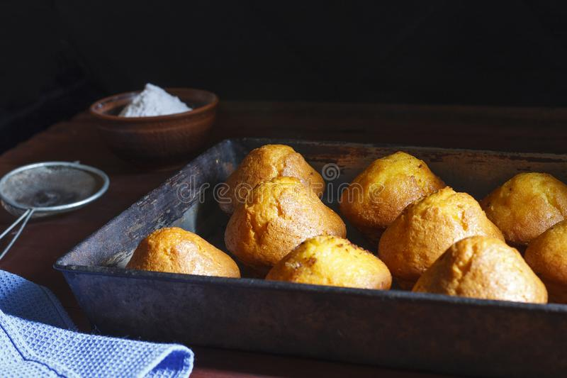 Fresh pastries in a baking tray stock images