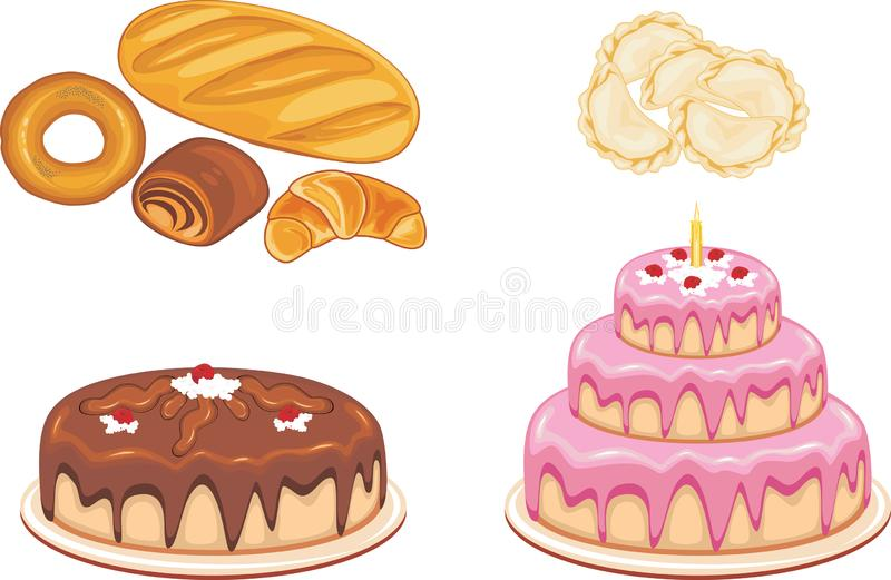 Bakery products, dumplings and cakes isolated on white royalty free stock photography