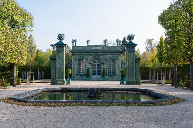 The fresh Pavilion in the Trianon Estate in Versailles. The fresh pavilion built for King Louis XV and Madame de Pompadour by Ange-Jacques Gabriel in the French royalty free stock image
