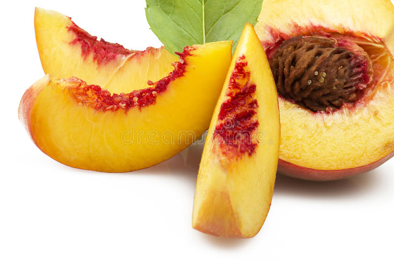 Fresh peach fruits stock image