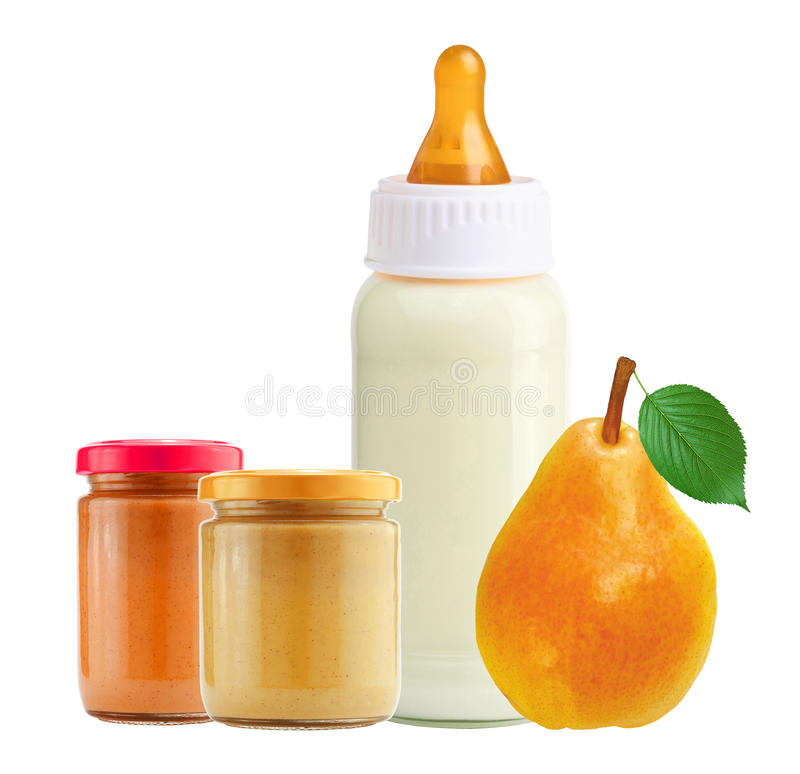 Fresh pear, baby food and and milk bottle isolated on white royalty free stock photos