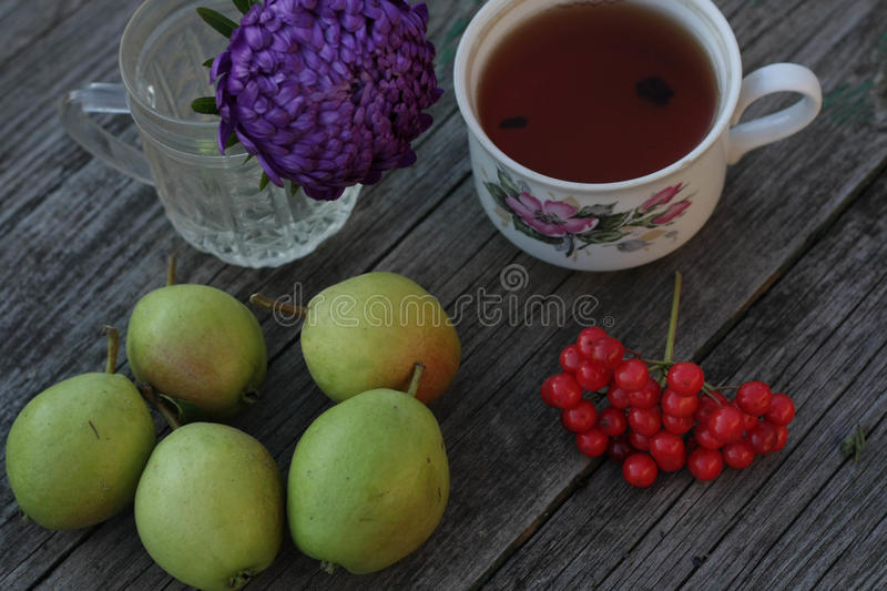 fresh pear crop tea on nature royalty free stock image