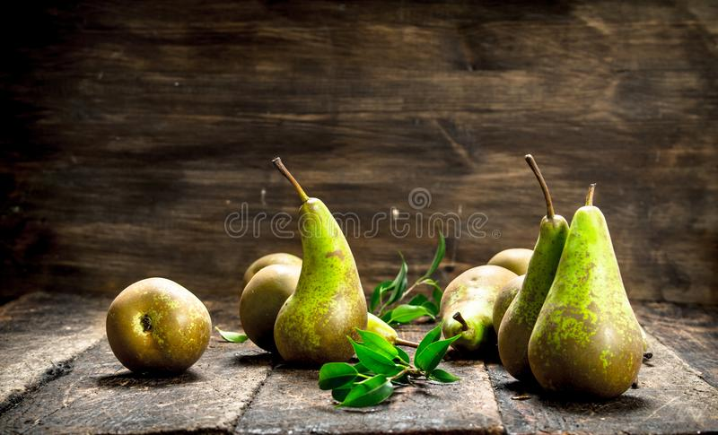 Download Fresh pears with leaves. stock photo. Image of background - 106721612