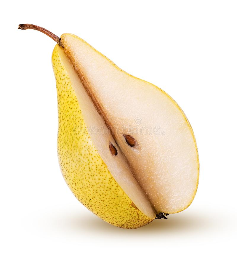 Fresh pears quarter. Isolated on white background. Clipping Path. Full depth of field stock images