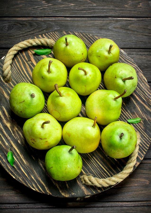 Fresh pears on tray stock photo