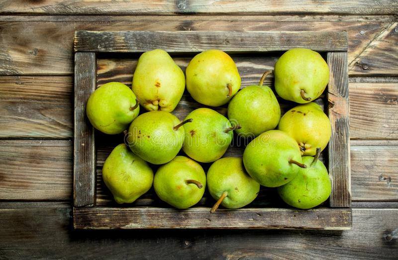 Fresh pears in the tray royalty free stock image