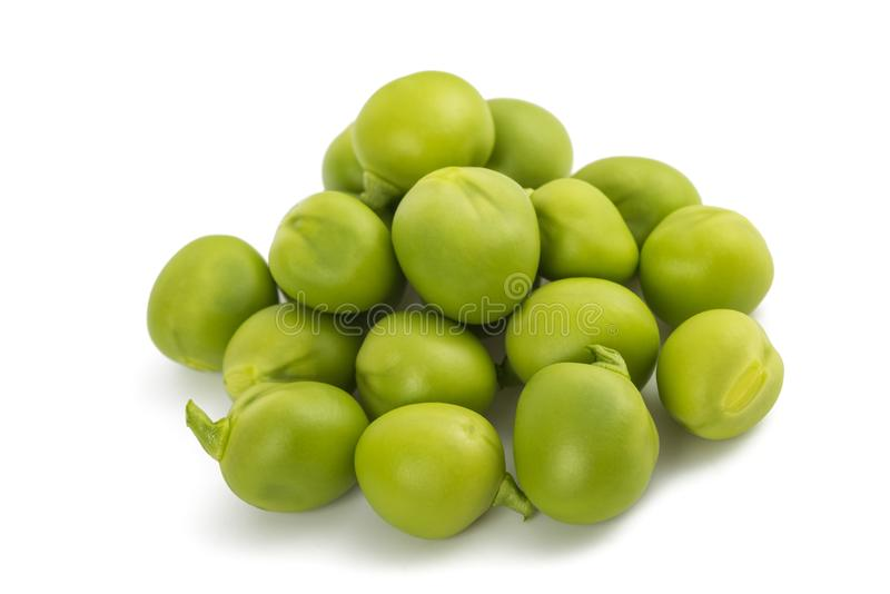 Fresh  peas group. Fresh green peas group isolated on  white background royalty free stock images