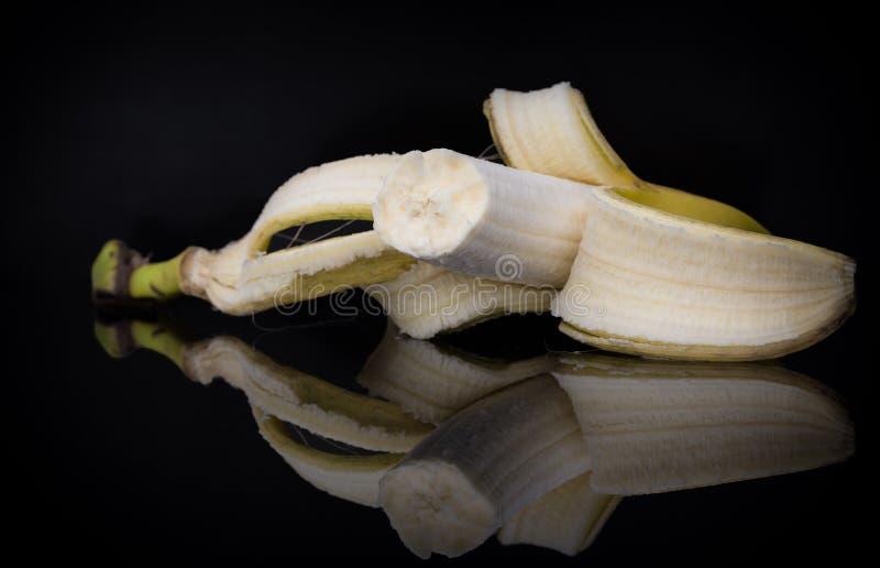 Banana  Black  Fruit  Reflection  Mirror Effect Stock Image