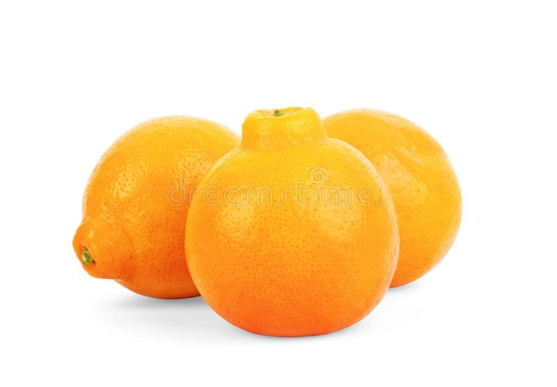 Fresh peeled mandarin orange isolated on white background with clipping path royalty free stock photos