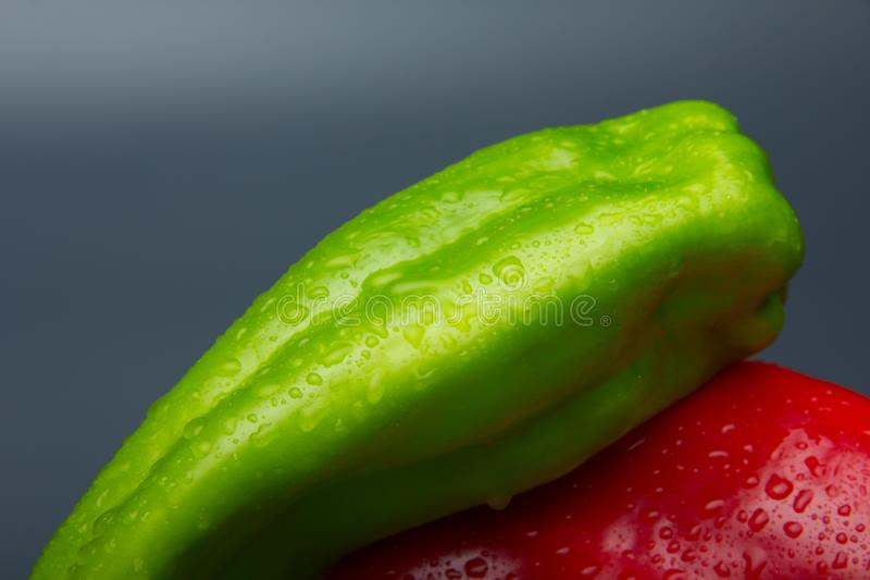 Fresh pepper, fresh from the garden. The green pepper, still needs to mature in the bush, but it is perfectly consumable and can be eaten. The red pepper, is royalty free stock photo