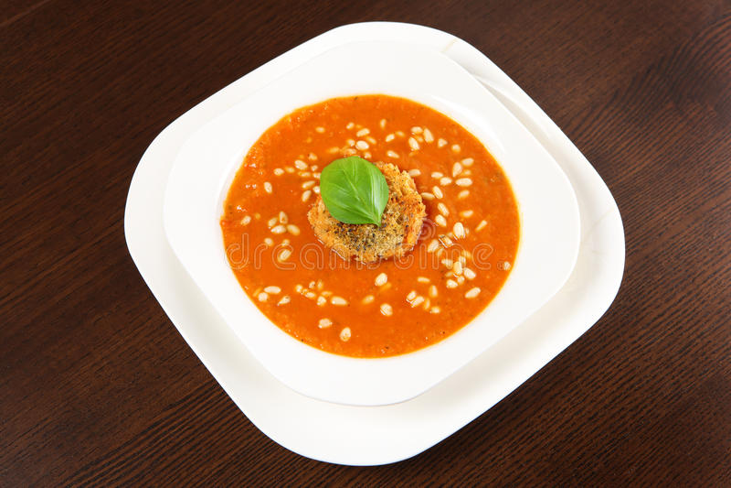 Fresh pepper soup stock photo