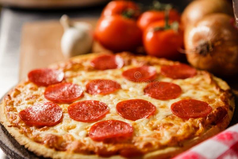 Fresh Pepperoni pizza stock photos