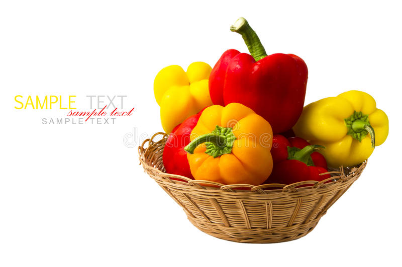 Fresh Peppers In Basket Stock Images