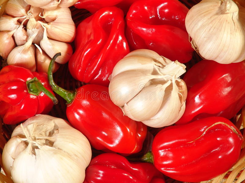 Fresh peppers and garlic royalty free stock photos