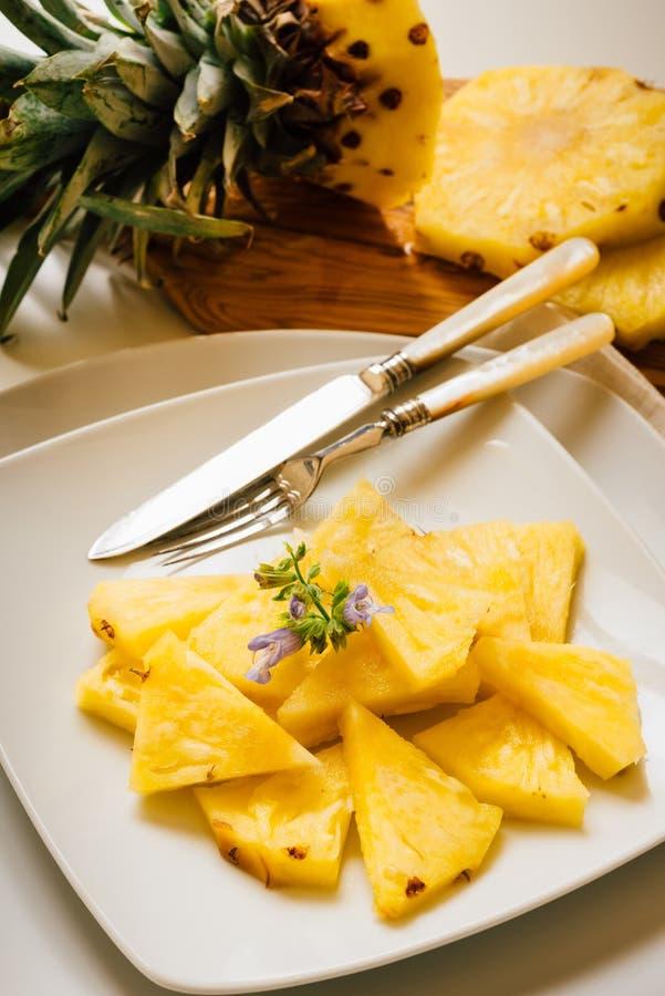 Fresh piled pineapple stock images