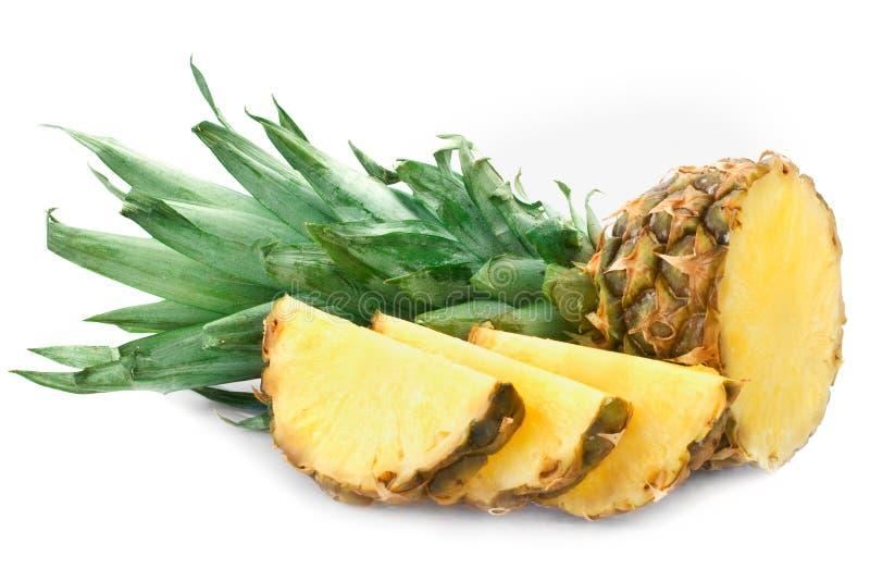 Fresh pineapple. Isolated over white stock photo