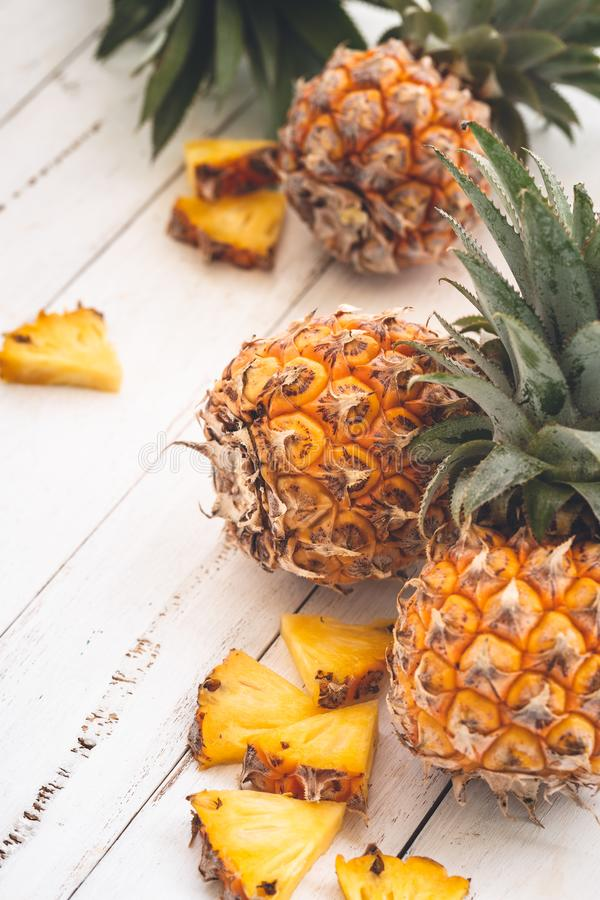 Fresh Pineapple. On Blue Background on wooden Background royalty free stock photos