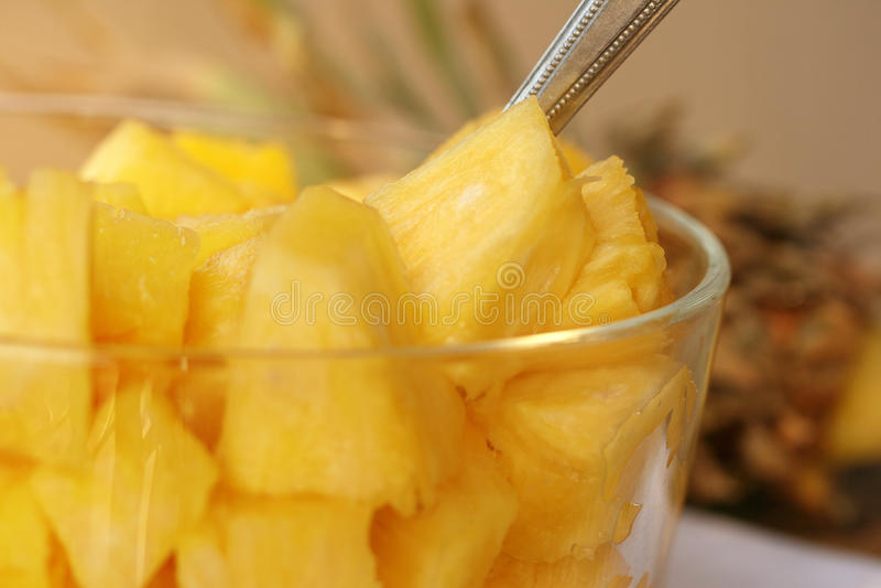 Fresh Pineapple Chunks Stock Photo