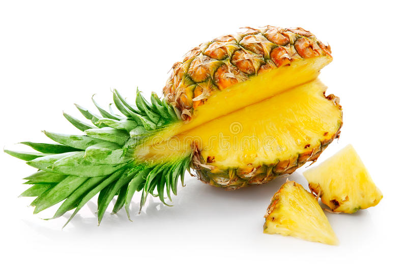 Fresh pineapple with cut. Isolated on white background stock image