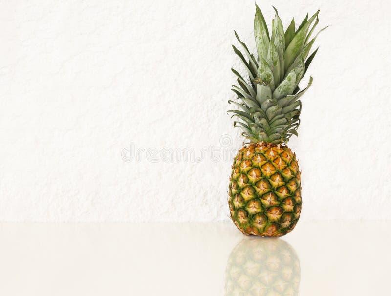 Fresh pineapple on white background. Exotic fruit royalty free stock photography