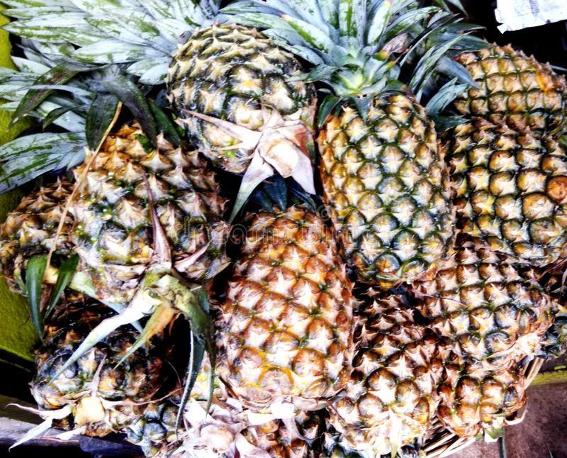 Fresh pineapples in a shop royalty free stock photography