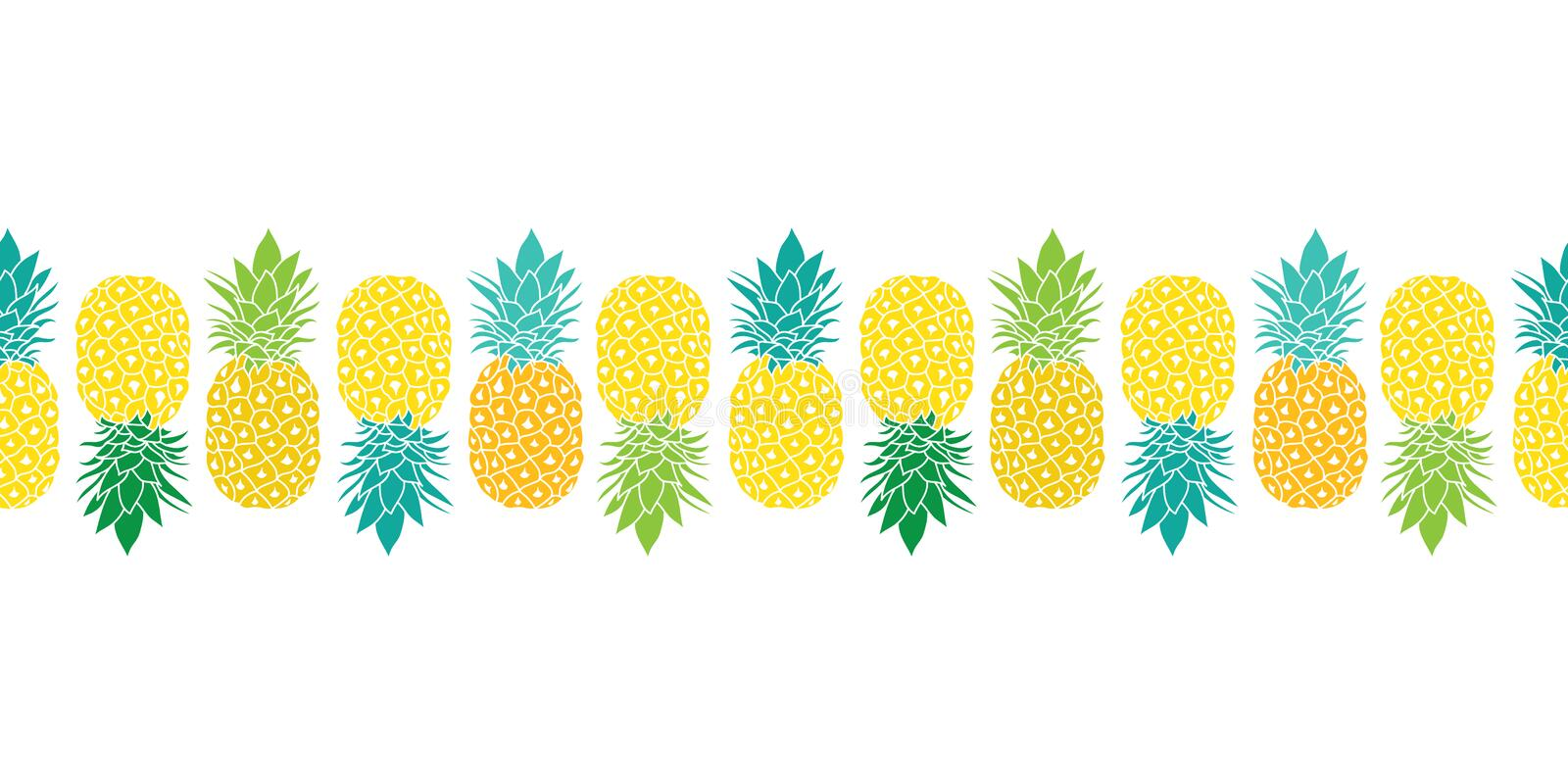 Fresh Pineapples Vector Repeat Seamless Horizontal Pattrern Border in Yellow, Blue and Green Colors. Great for fabric royalty free illustration